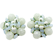 Hattie Carnegie White and Blue Cluster Bead Vintage Clip-on Earrings