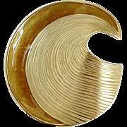 Trifari Enamel Gold Tone Wave Brooch, Vintage Caramel Enamel Edged Pin