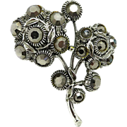 WEISS Hematite Rhinestone Silver Tone Flower Brooch Pin