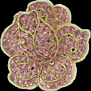 WEISS Pink Rose Rhinestone Flower Brooch Pin