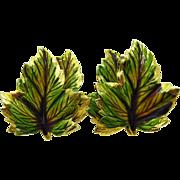 WEISS Green Leaf Gold Tone Earrings, Double Leaf Enameled Clip-on Vintage Earrings