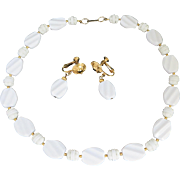 Hobe White Necklace and Earrings Set, Vintage Plastic Beaded Demi Parure