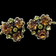Orange and Green Rhinestone Vintage Wingback Earrings