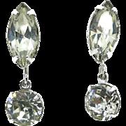 Eisenberg Rhinestone Crystal Drop Clip-on Earrings