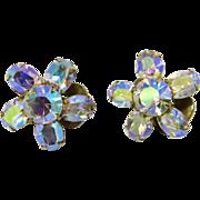 Weiss AB Rhinestone Snowflake Clip-on Earrings