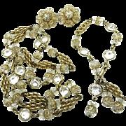 Eisenberg Grand Parure, Vintage Crystal Gold Tone Necklace, Bracelet, Earrings Set