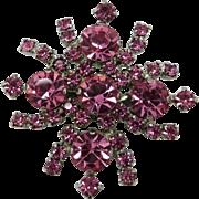 Kramer of New York Vintage Pink Rhinestone Brooch