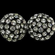 Sandor Rhinestone Domed Button Earrings, Silver Tone Clip-on Earrings
