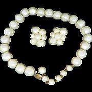 Hattie Carnegie Faux Pearl Necklace and Earrings Set, Vintage Demi Parure