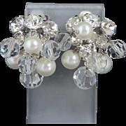 Hattie Carnegie Rhinestone Faux Pearl Cluster Earrings, Bridal Jewelry