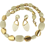 Napier Cream and Gold Tone Demi Parure, Vintage Necklace and Earrings Set