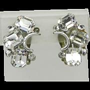 Lisner Clear Rhinestone Curved Silver Tone Clip-on Earrings