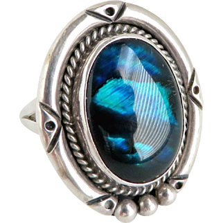 Navajo Abalone Sterling Silver Ring, Vintage Nakai Sterling Ring