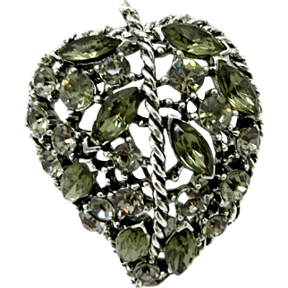Weiss Smoky Rhinestone Silver Tone Leaf Brooch Pin