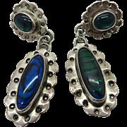 Nakai Sterling Silver Abalone Dangling Pierced Earrings