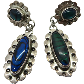 Nakai Sterling Silver Abalone Dangling Pierced Earrings