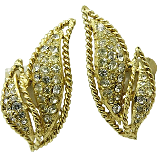 Hattie Carnegie Rhinestone Gold Tone Leaf Earrings