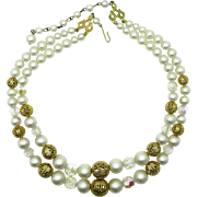 Kramer Faux Pearl Double Strand Beaded Necklace