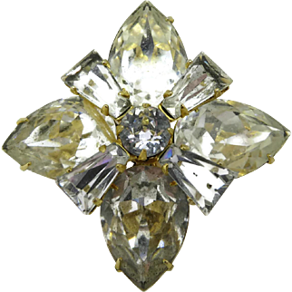 Albert Weiss New York Clear Rhinestone Star Snowflake Brooch