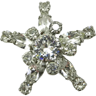 Kramer New York Clear Rhinestone Star Brooch