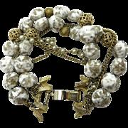 Kramer White and Gold Beaded Multi-strand Bracelet