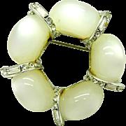 Kramer White Moonstone Crystal Baguette Wreath Vintage Pin