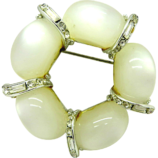 Kramer White Moonstone Crystal Baguette Wreath Vintage Pin