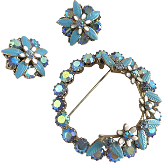 Weiss AB Rhinestone Flower Brooch and Earrings Set