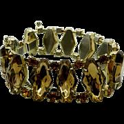 Cognac Brown and Amber Vintage Rhinestone Link Bracelet