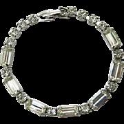 Weiss Vintage Rhinestone Silver Tone Bridal Bracelet