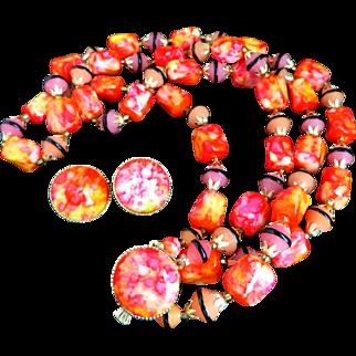 Hong Kong Pink and Orange Bead Necklace Earrings Set