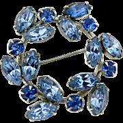 WEISS Ice Blue Rhinestone Silver Tone Circle Pin