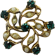 Coro Rhinestone and Faux Pearl Gold Tone Vintage Brooch