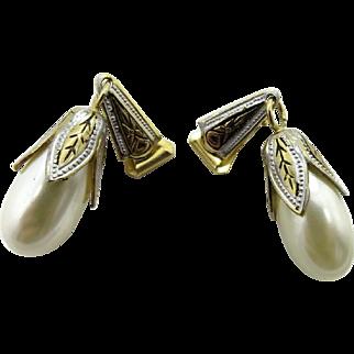 Spanish Damascene Faux Pearl Vintage Clip-on Earrings