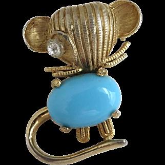 WEISS Vintage Blue Enamel Gold Tone Mouse Brooch