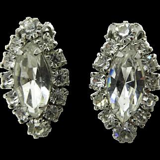 Weiss Rhinestone Silver Tone Oval Clip-on Earrings