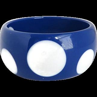 Blue and White Polka Dot Lucite Bangle Bracelet