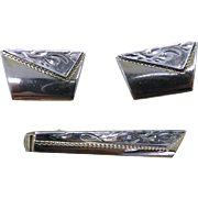 Anson Cufflinks Tie Clip Set, Vintage Two Tone Men's Jewelry Set
