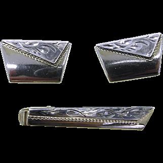 Anson Cufflinks Tie Clip Set, Vintage Two Tone Men's Jewelry Set