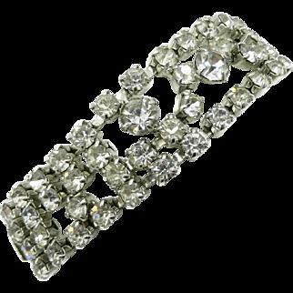 Kramer of New York Prong Set Rhinestone Silvertone Bracelet