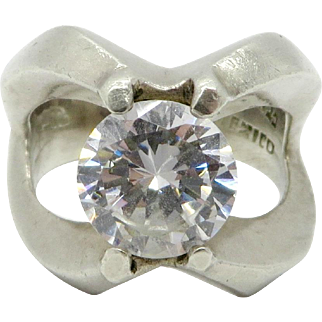 Mexican Sterling Silver CZ Engagement Ring