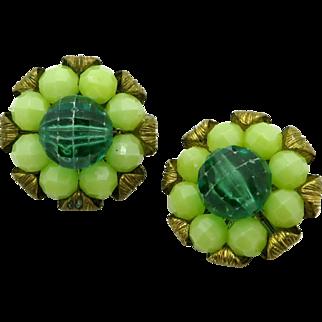 Kramer Green Bead Brass Tone Flower Clip-on Earrings