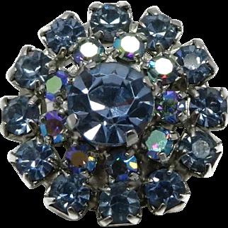 Weiss Blue Rhinestone Small Flower Brooch Pin