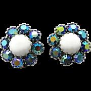 Weiss AB Rhinestone and Milk Glass Silvertone Clip-on Earrings