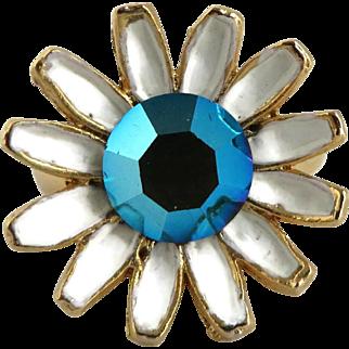 Weiss Enamel Flower Rhinestone Goldtone Adjustable Vintage Ring