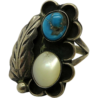 Navajo Turquoise and MOP Sterling Silver Feather Ring