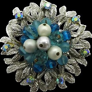 Coro Silver Tone Blue and White Bead AB Rhinestone Flower Brooch Pi