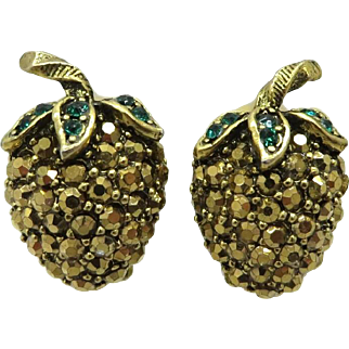 Weiss Gold Tone Rhinestone Strawberry Clip-on Vintage Earrings