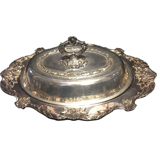 Wallace ornate silverplate entree oval serving dish