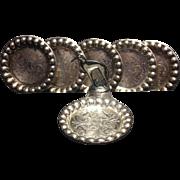 Rare borzoi silverplate coaster set